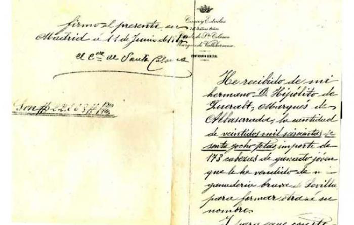 Documento de venta del Conde de Santa Coloma